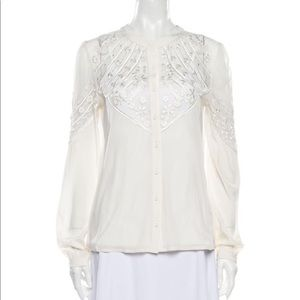 Alice by Temperley Cream Lace Chiffon Blouse